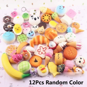 Fireboomoon 12 PCS Squishy Charms Kawaii Soft Foods Jumbo Sq