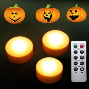 LED Pumpkin Lights with Remote and Timer; Battery Operated B